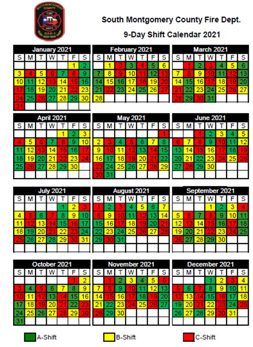 Shift calendars   South County Fire Department